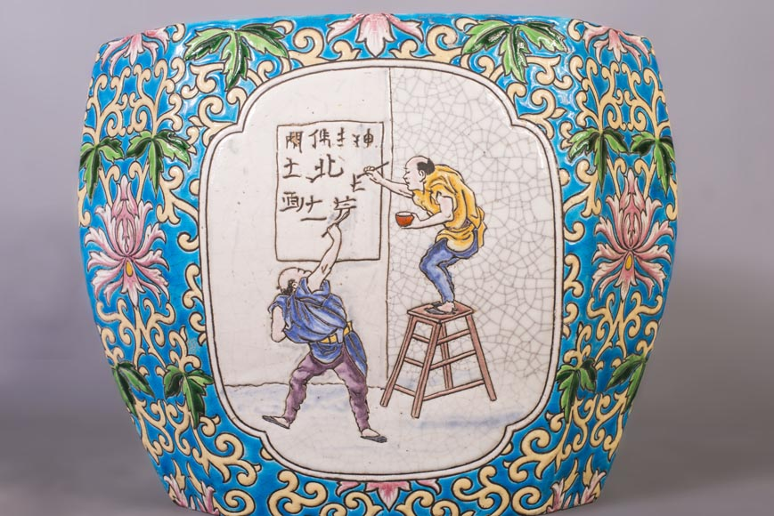 Japanese style cachepot in glazed earthenware with medallion decoration  of animated life scenes-4