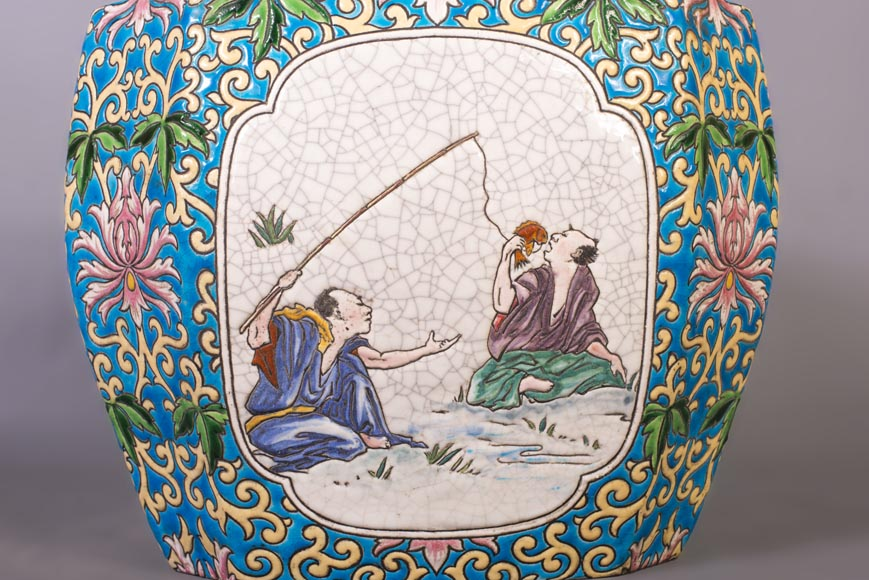 Japanese style cachepot in glazed earthenware with medallion decoration  of animated life scenes-5