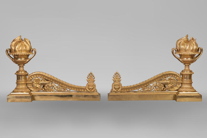 Beautiful pair of antique Napoleon III style andirons with antique fire pots-0