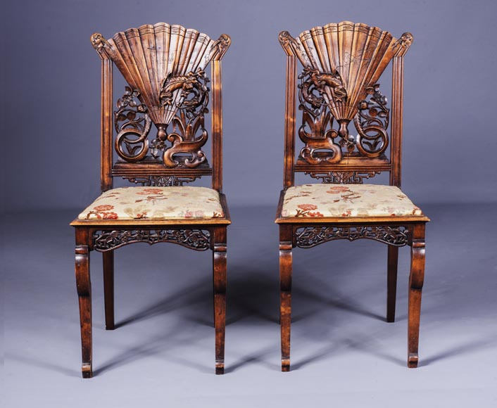 Pair of Japanese style chairs with fan-shaped backs of seat-0