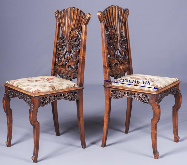 Pair of Japanese style chairs with fan-shaped backs of seat-9