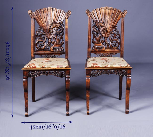 Pair of Japanese style chairs with fan-shaped backs of seat-10