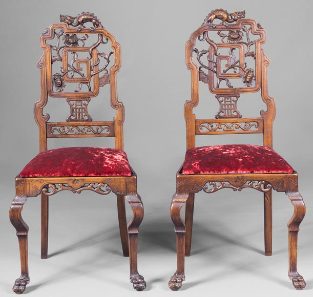 Pair of chair with openwork backseat in the taste of Japan-0