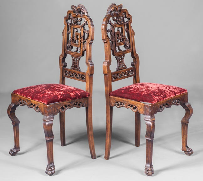 Pair of chair with openwork backseat in the taste of Japan-1