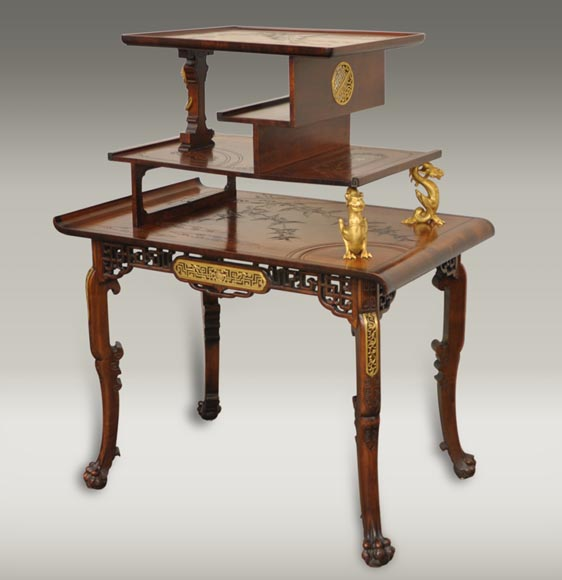 Gabriel Viardot (attributed to) - Japanese style table with gilded bronze decorations-0