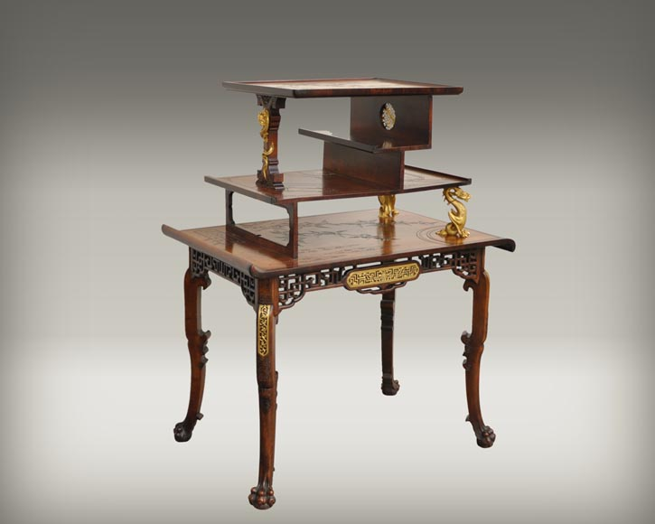 Gabriel Viardot (attributed to) - Japanese style table with gilded bronze decorations-1