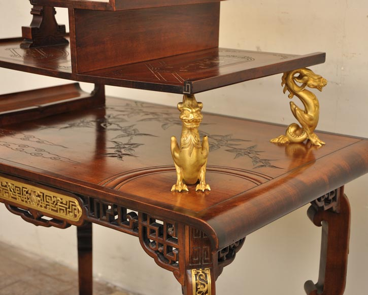 Gabriel Viardot (attributed to) - Japanese style table with gilded bronze decorations-2