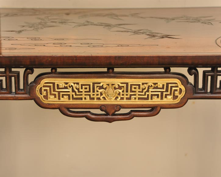 Gabriel Viardot (attributed to) - Japanese style table with gilded bronze decorations-5