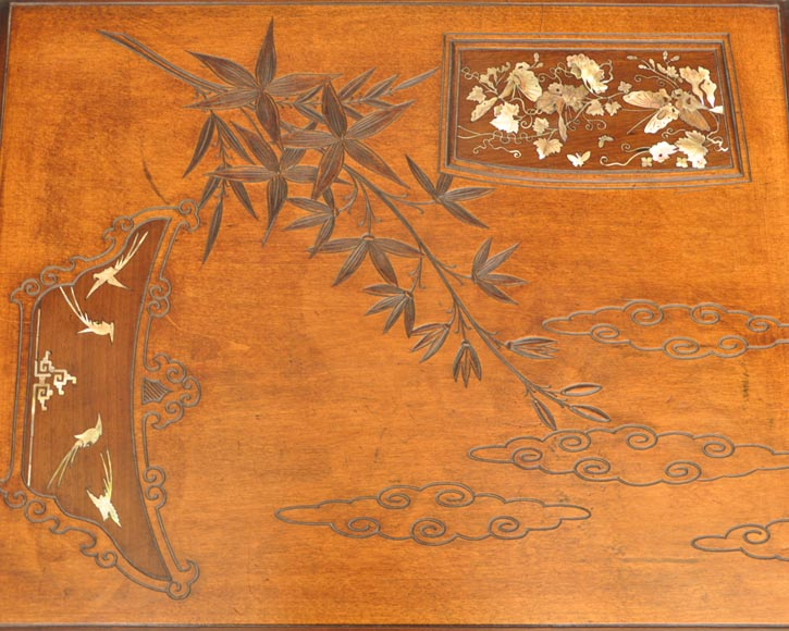 Gabriel Viardot (attributed to) - Japanese style table with gilded bronze decorations-6