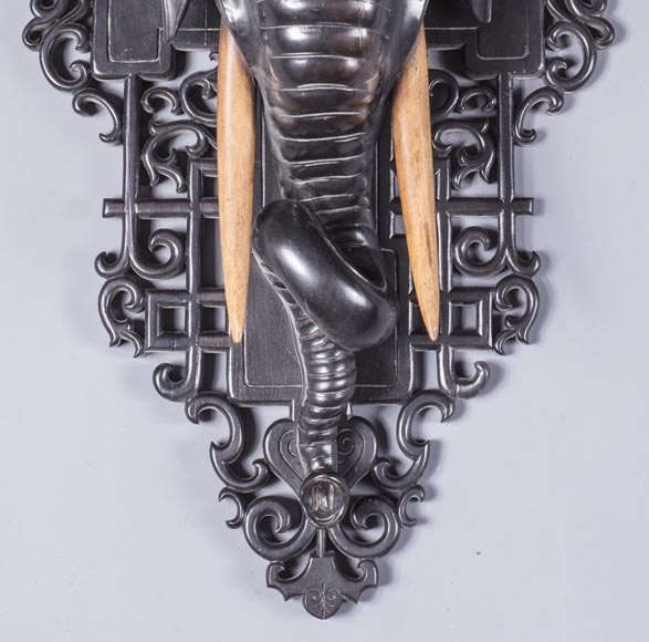 Maison des Bambous Alfred PERRET et Ernest VIBERT (attributed to) - Pair of wall brackets with elephant head-2