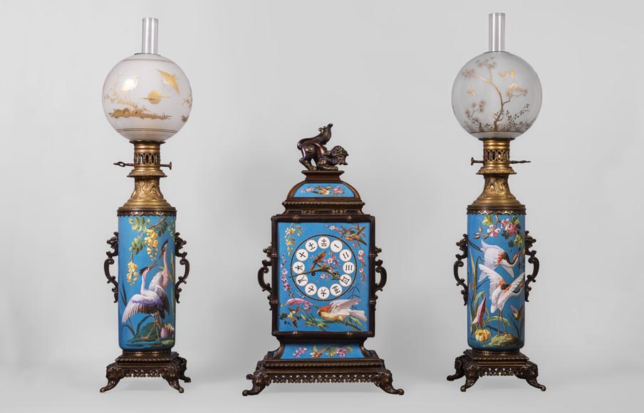 CREIL-MONTEREAU FACTORY (attributed to) - Mantel garniture in the japanese taste with trompe l'oeil cloisonné-0