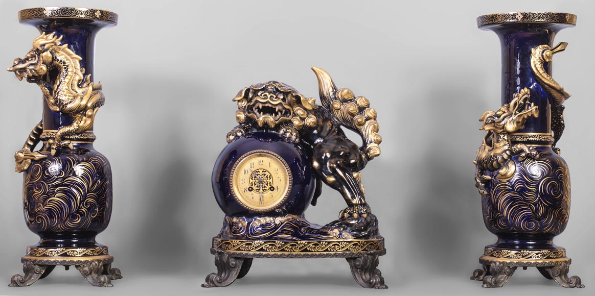 Émile GALLÉ (attributed to) - Japanese style clock set with Fô dog-0