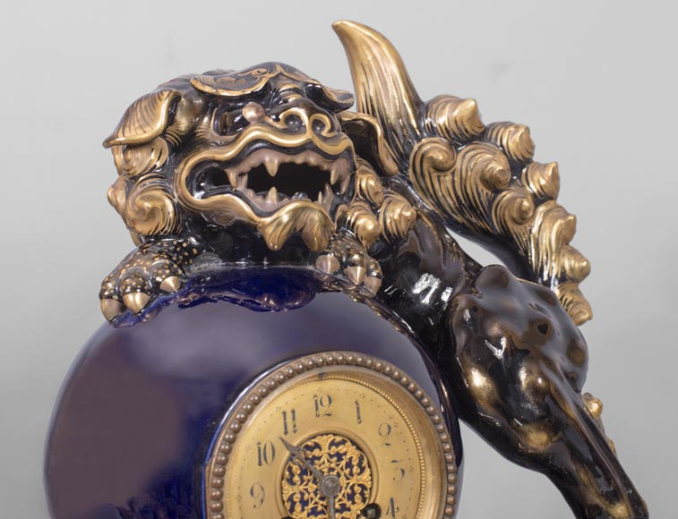 Émile GALLÉ (attributed to) - Japanese style clock set with Fô dog-3