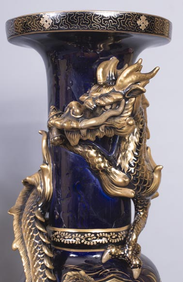 Émile GALLÉ (attributed to) - Japanese style clock set with Fô dog-11