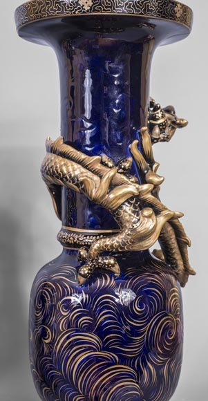 Émile GALLÉ (attributed to) - Japanese style clock set with Fô dog-12