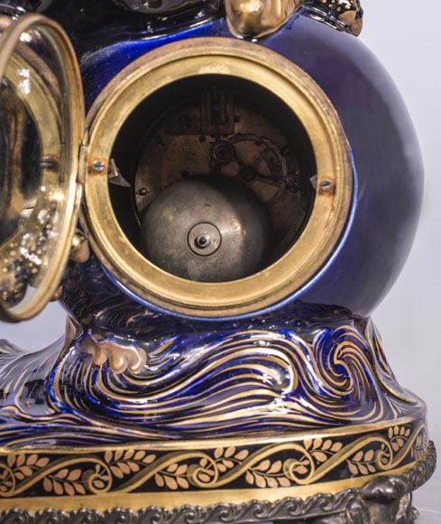 Émile GALLÉ (attributed to) - Japanese style clock set with Fô dog-13