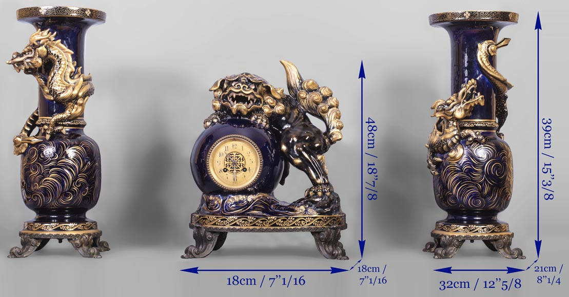 Émile GALLÉ (attributed to) - Japanese style clock set with Fô dog-14