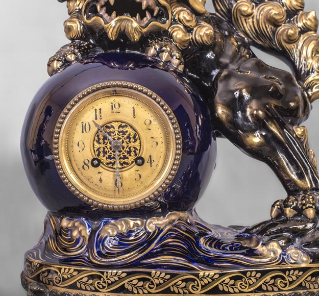 Japanese style clock set with Fô dog-1