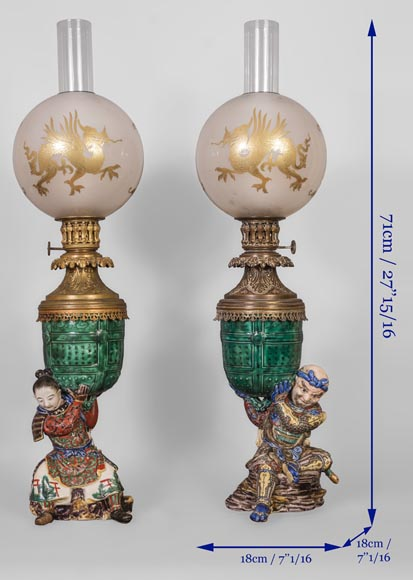 Pair of kerosene lamps with samourai-7