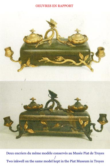 Frédéric-Eugène PIAT (1827-1903) (model by) for Maison PERROT (bronze maker) - Elegant japonese-style inkwell with butterfly-6