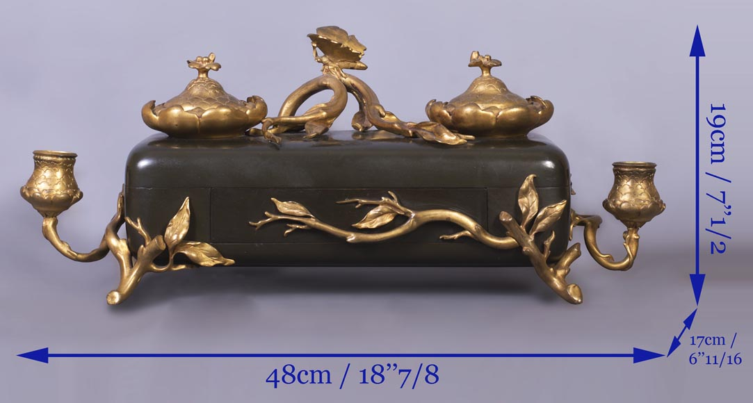 Frédéric-Eugène PIAT (1827-1903) (model by) for Maison PERROT (bronze maker) - Elegant japonese-style inkwell with butterfly-7
