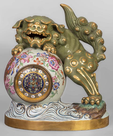 Émile GALLÉ (attributed to) - Japanese style pendulum with Fô dog-0