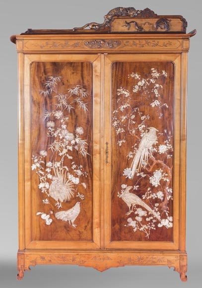 Gabriel VIARDOT (1830-1906) (attributed to) - A major Japanese wardrobe with large marquetry panels-0