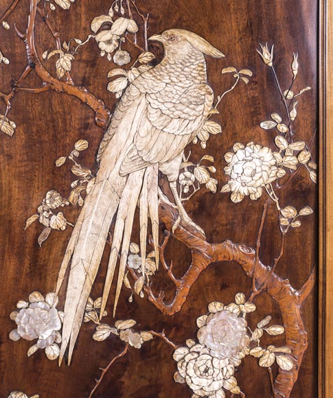 Gabriel VIARDOT (1830-1906) (attributed to) - A major Japanese wardrobe with large marquetry panels-6