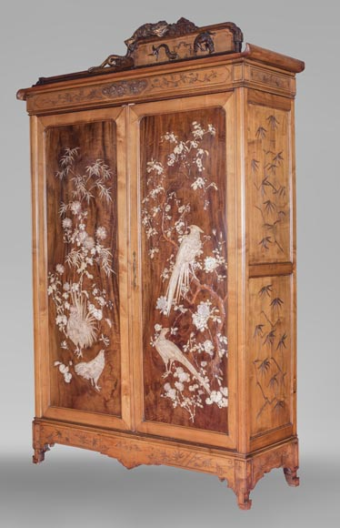 Gabriel VIARDOT (1830-1906) (attributed to) - A major Japanese wardrobe with large marquetry panels-12