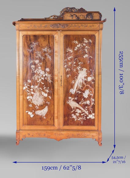 Gabriel VIARDOT (1830-1906) (attributed to) - A major Japanese wardrobe with large marquetry panels-13