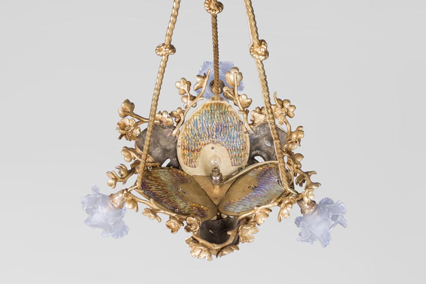 E. SOLEAU - Chandelier with Beshimi masks-1