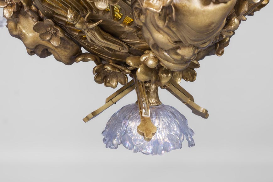 E. SOLEAU - Chandelier with Beshimi masks-2