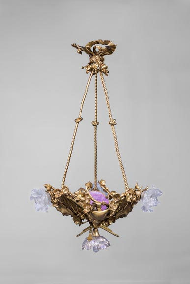 E. SOLEAU - Chandelier with Beshimi masks - Reference 11453