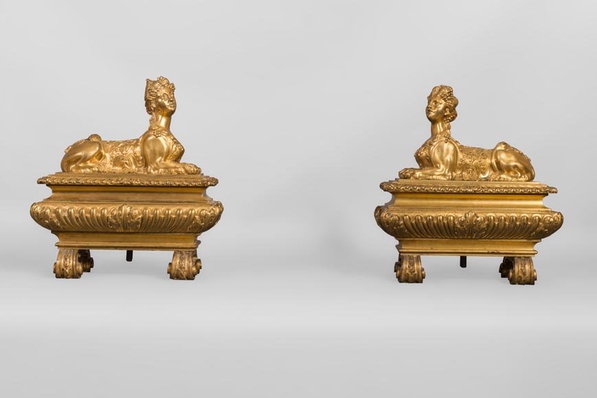 Pair of chenets with sphinges, Regency style, in gilded bronze-0