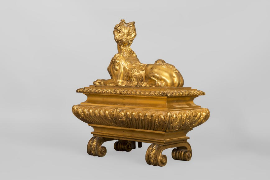 Pair of chenets with sphinges, Regency style, in gilded bronze-4