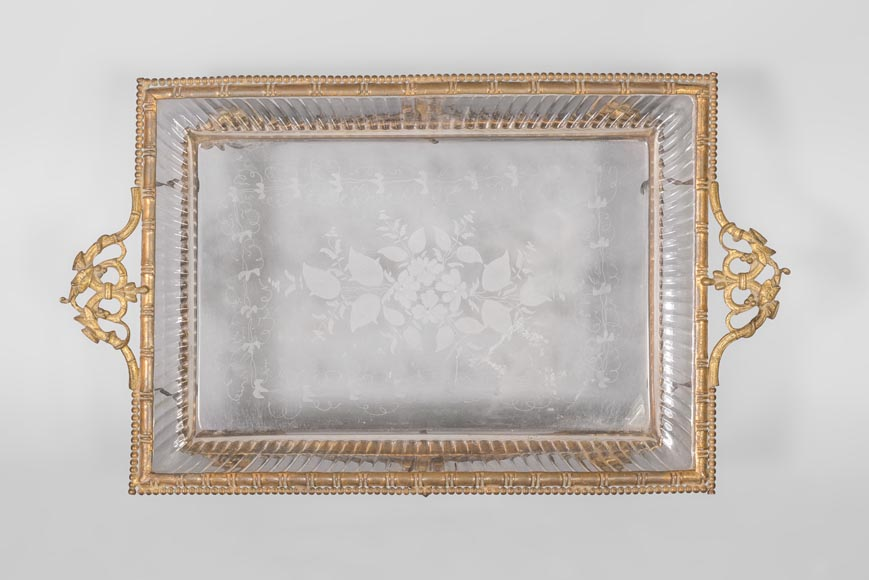 Japanese style crystal engraved vide-poche and gilded bronze frame with elephant heads-4