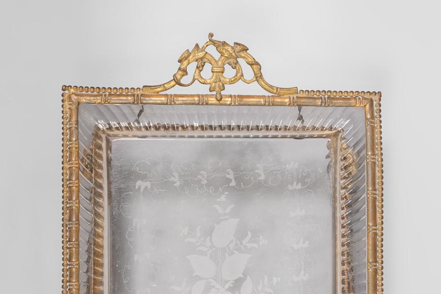Japanese style crystal engraved vide-poche and gilded bronze frame with elephant heads-5