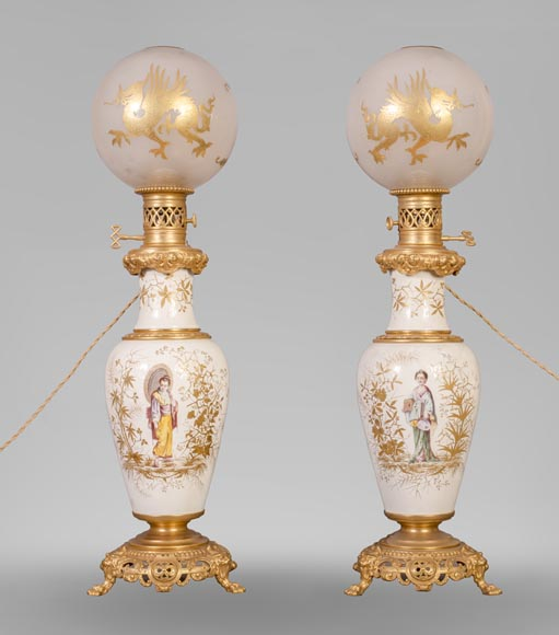 A pair of ceramic lamps with Japanese women decor-0