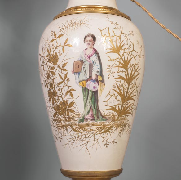 A pair of ceramic lamps with Japanese women decor-5