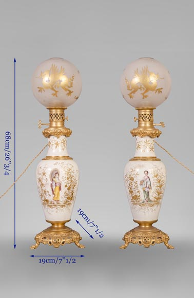 A pair of ceramic lamps with Japanese women decor-9