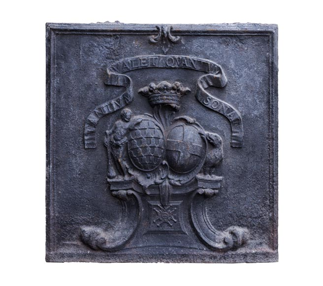 Beautiful cast iron fireback with the wedding coat of arms of the marquis de Vichy and Claude-Josèphe-Marie de Saint-Georges-0