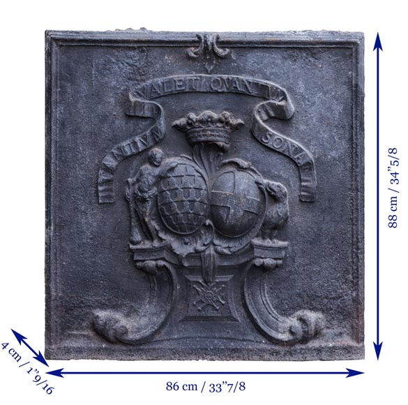 Beautiful cast iron fireback with the wedding coat of arms of the marquis de Vichy and Claude-Josèphe-Marie de Saint-Georges-6