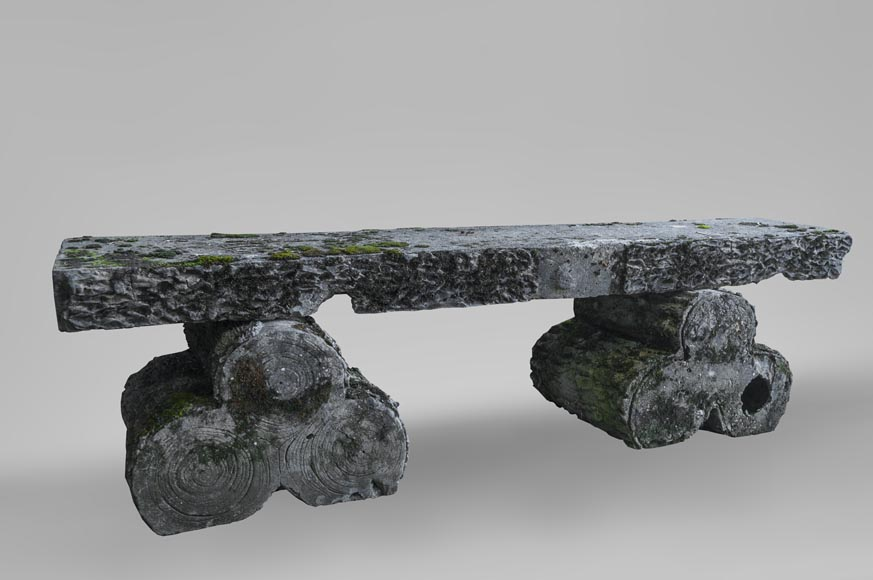 Composite stone garden bench, log-shaped base-0