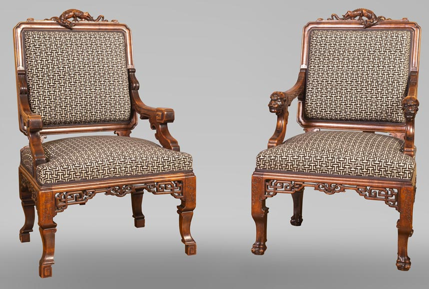Gabriel VIARDOT (attributed to) - Set of two dragon chairs-0