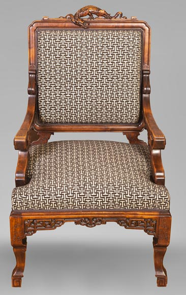 Gabriel VIARDOT (attributed to) - Set of two dragon chairs-1