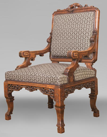 Gabriel VIARDOT (attributed to) - Set of two dragon chairs-2