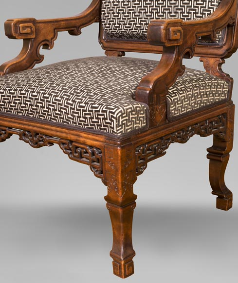 Gabriel VIARDOT (attributed to) - Set of two dragon chairs-3