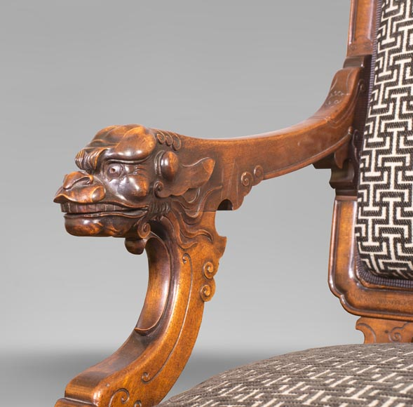 Gabriel VIARDOT (attributed to) - Set of two dragon chairs-11