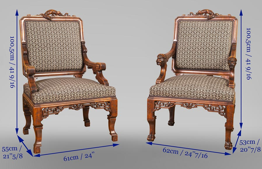 Gabriel VIARDOT (attributed to) - Set of two dragon chairs-13