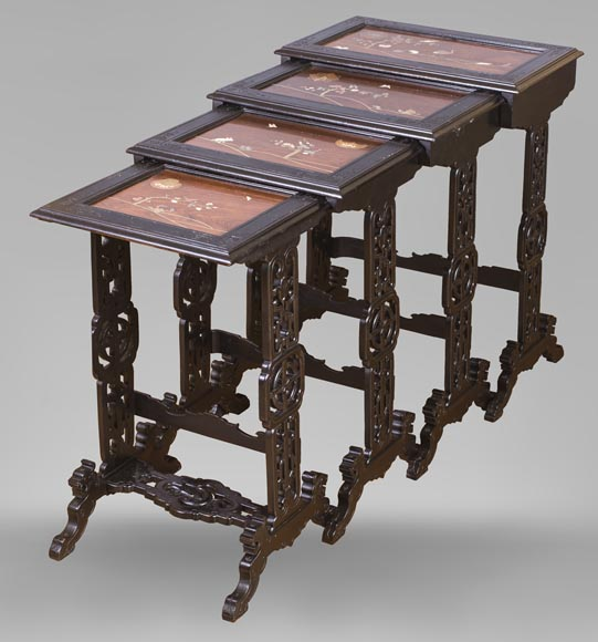 Japanese style nest of tables with metal marquetry decoration-0